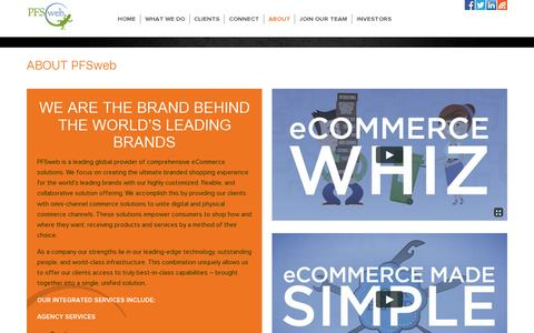 Screenshot of About Page pfsweb.com - Global provider of eCommerce solutions including omni-channel commerce solutions and omni-channel order fulfillment. - captured July 18, 2014