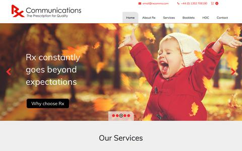 Screenshot of Home Page rxcomms.com - Medical Communications Agency | Healthcare Communications - captured Oct. 25, 2017