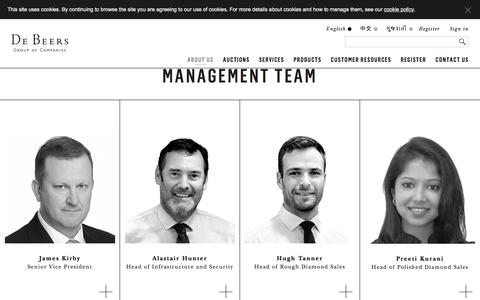 Screenshot of Team Page debeersgroup.com - Our Team -  De Beers Auction Sales - captured Sept. 20, 2018