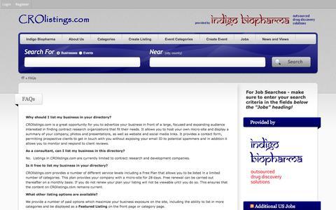 Screenshot of FAQ Page crolistings.com - FAQs - CRO Listings - captured Oct. 1, 2014