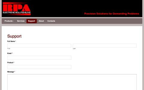 Screenshot of Support Page rpaelectronics.com - RPA Electronics | Support - captured Jan. 24, 2017