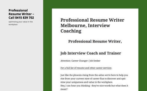 Screenshot of Home Page careerangel.com.au - Professional Resume Writer in Melbourne | Career Angel - captured Jan. 25, 2016