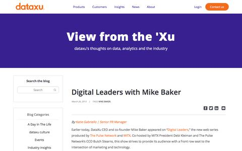 Screenshot of Team Page dataxu.com - Digital Leaders with Mike Baker - dataxu, inc. - captured Nov. 18, 2019