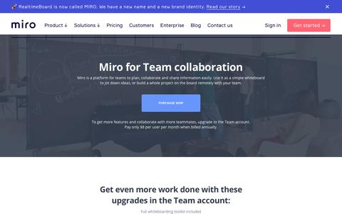 Screenshot of Team Page miro.com - Real-time or Asynchronous Team Collaboration | Miro - captured April 8, 2019
