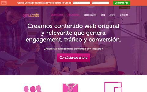 Screenshot of Home Page genwords.com - Content Marketing, Marketing de Contenidos | Genwords - captured Jan. 14, 2015