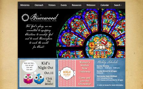 Screenshot of Home Page briarwood.org - Briarwood Presbyterian Church, PCA: worshipping, equipping, reaching - captured Oct. 5, 2014