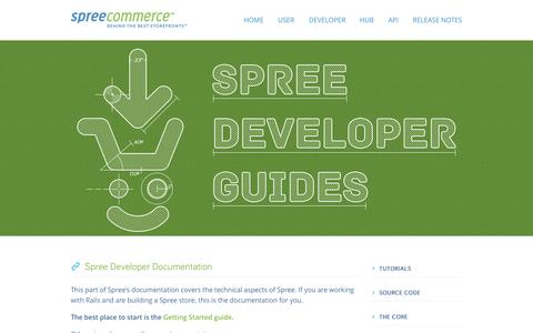 Screenshot of Developers Page spreecommerce.com - Spree Developer Documentation | Spree Commerce - captured Sept. 17, 2014