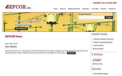 Screenshot of Press Page sefcor.com - SEFCOR Inc. - Power Connector Specialists - captured Oct. 3, 2014