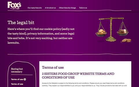 Screenshot of Terms Page foxs-biscuits.co.uk - Terms of use - captured Oct. 29, 2014
