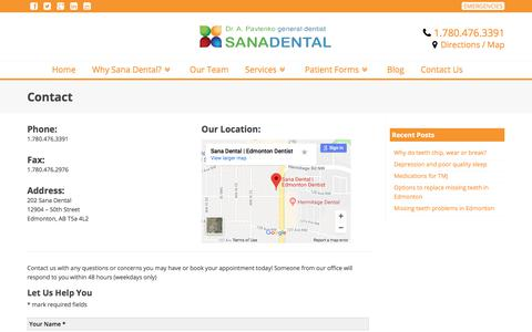 Screenshot of Contact Page Maps & Directions Page sanadental.ca - Contact Information - Edmonton Dentist - Sana Dental - captured Feb. 1, 2018