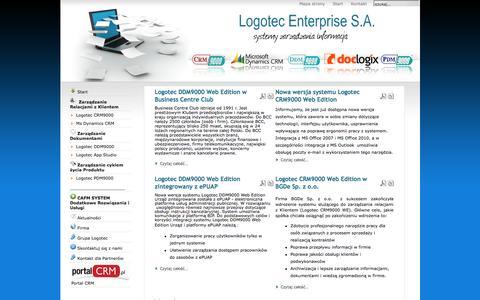 Screenshot of Home Page Menu Page logotec.wroc.pl - Systemy CRM, zarządzanie dokumentami Workflow, rozwiązania CRM i strategie - captured June 25, 2016