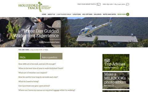 Screenshot of FAQ Page hollyfordtrack.com - FAQ's on walking the Hollyford guided walk - captured June 15, 2016