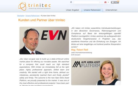 Screenshot of Testimonials Page trinitec.at - Kunden und Partner über trinitec | trinitec - captured Oct. 8, 2014