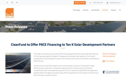 Screenshot of Press Page tenksolar.com - Press Releases – Ten K Solar | Commercial Solar | Simply More Energy - captured May 9, 2017