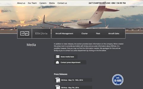 Screenshot of Press Page elitavia.com - Media   Elit'Avia - captured Sept. 29, 2014