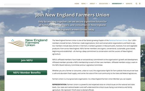 Screenshot of Signup Page newenglandfarmersunion.org - Join | New England Farmers Union - captured Sept. 21, 2018