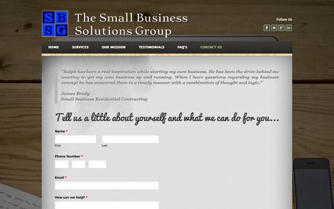 Screenshot of Contact Page weebly.com - How to contact a small business consultant - The Small Business Solutions Group - captured Oct. 26, 2014