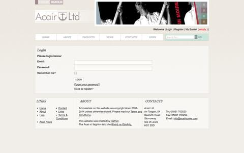 Screenshot of Login Page acairbooks.com - Acair Ltd - Gaelic, English and Bilingual books - captured Oct. 4, 2014