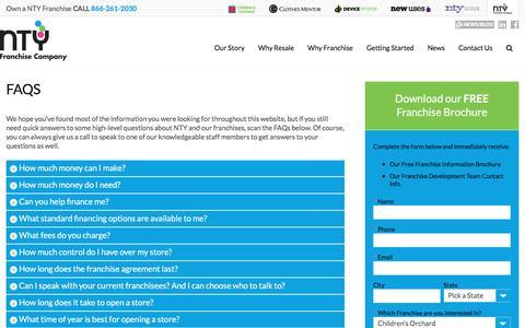 Screenshot of FAQ Page ntyfranchise.com - FAQS | NTY Franchise - captured Feb. 9, 2016