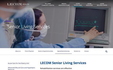 Screenshot of Services Page lecomhealth.com - LECOM Senior Living Services - LECOM Health - captured Jan. 26, 2018