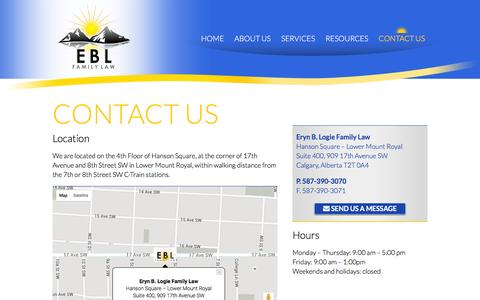 Screenshot of Contact Page eblfamilylaw.com - Contact Us | Eryn B. Logie Calgary Family Law - captured Jan. 29, 2016