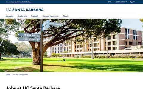 Screenshot of Jobs Page ucsb.edu - Jobs at UC Santa Barbara | UC Santa Barbara - captured Sept. 21, 2018