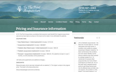 Screenshot of Pricing Page ttpacupuncture.com - Our Associates - To The Point Acupuncture - Raleigh, NC - captured Feb. 17, 2016