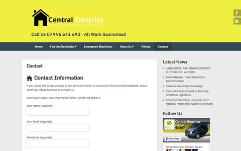 Screenshot of Contact Page centralelectrics.com - Contact - Central Electrics : Electricians In Coventry - captured May 15, 2017
