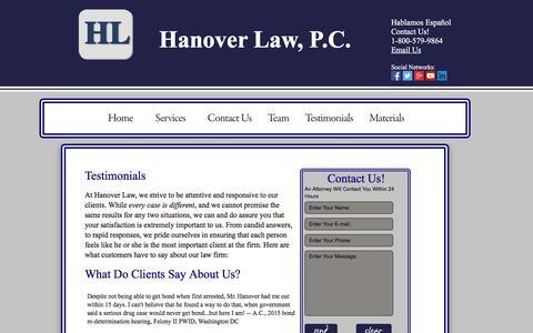 Screenshot of Testimonials Page hanoverlawpc.com - Hanover Law,PC-VA/MD/DC Immigration Trial (Master Calendar and Individual Calendar Hearings) - captured Dec. 7, 2015