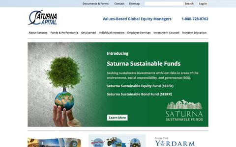 Screenshot of Home Page saturna.com - Mutual Funds, IRAs, 401(k)s, Investment Management, and more! | Saturna Capital - captured Oct. 2, 2015