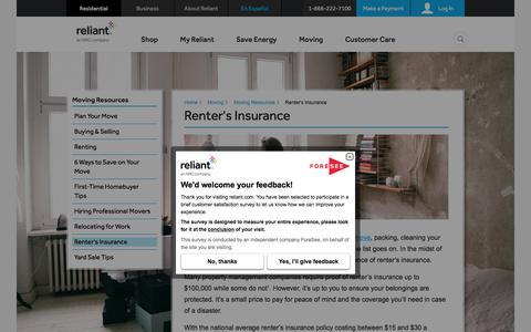 Renter's Insurance | Reliant Energy