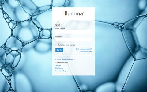 Screenshot of Login Page illumina.com - Illumina Sign In - captured Oct. 17, 2017