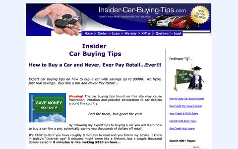 Screenshot of Home Page insider-car-buying-tips.com - Expert Car Buying Tips, Save Up to $9900, Learn How to Buy a Car - captured Oct. 25, 2018