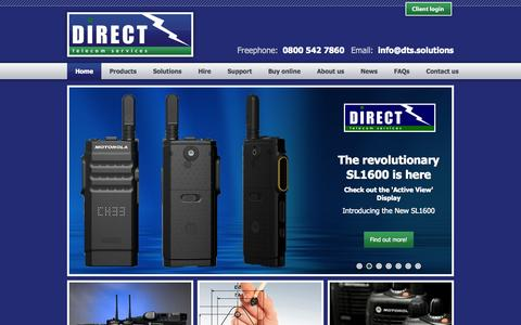 Screenshot of Home Page dts.solutions - Direct Telecom Services - Home - captured Jan. 24, 2015