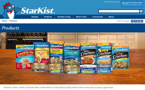 Screenshot of Products Page starkist.com - Products | StarKist - captured Nov. 25, 2015