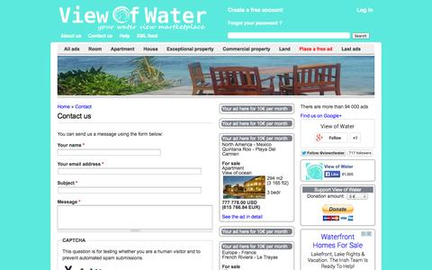 Screenshot of Contact Page viewofwater.com - Contact us | View of Water - captured Sept. 30, 2014