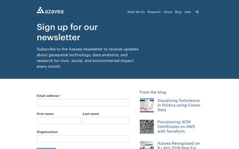 Screenshot of Signup Page azavea.com - Newsletter - Azavea - Beyond Dots on a Map - captured July 31, 2018