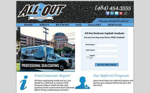 Screenshot of Home Page Site Map Page alloutsealcoat.com - All Out Sealcoat - captured Dec. 22, 2015