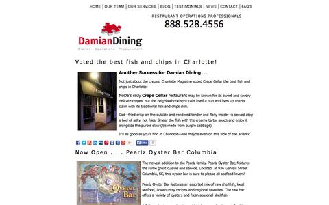 Screenshot of Press Page damiandining.com - Damian Dining in the News - captured Oct. 27, 2014