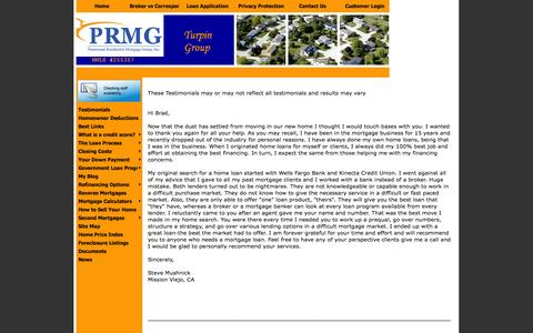 Screenshot of Testimonials Page theturpingroup.com - CA mortgages : CA mortgage rates and home loans - captured Oct. 9, 2014