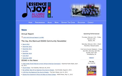 Screenshot of Press Page eojas.org - Essence of Joy Alumni Singers (EOJAS) – News - captured Jan. 31, 2016