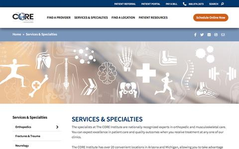 Screenshot of Services Page thecoreinstitute.com - Services & Specialties • The CORE Institute - captured Oct. 8, 2019