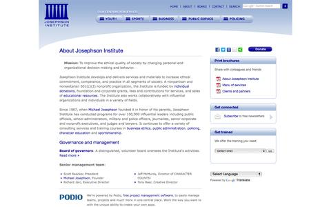 Screenshot of About Page josephsoninstitute.org - Josephson Institute of Ethics: About - captured Sept. 19, 2014