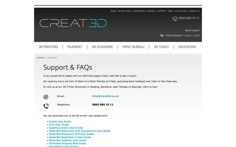 Screenshot of Support Page creat3dprinters.com - Technical support and training packages for 3D printers & 3D scanners - captured Oct. 1, 2014