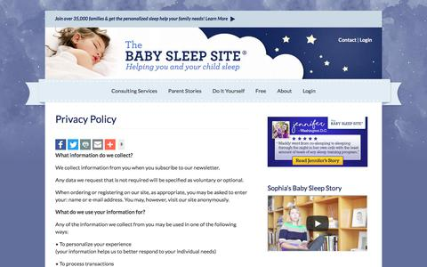 Screenshot of Privacy Page babysleepsite.com - Privacy Policy | The Baby Sleep Site - Baby / Toddler Sleep Consultants - captured Sept. 2, 2017