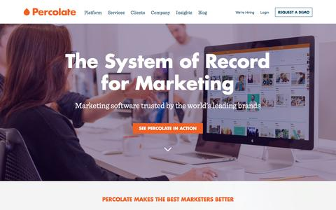 Screenshot of Home Page percolate.com - Percolate | Complete Marketing Software for Global Brands - captured Dec. 2, 2015