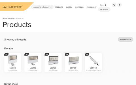 Screenshot of Products Page lumascape.com.au - Lighting Product Range   Lumascape - captured Sept. 30, 2018