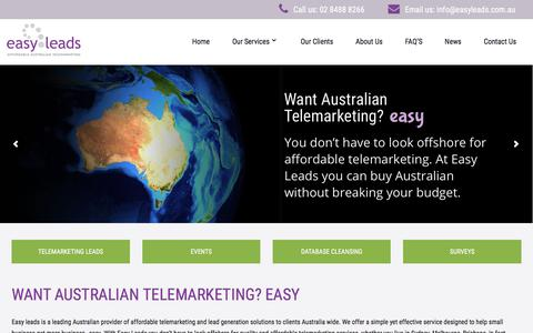 Screenshot of Home Page easyleads.com.au - Telemarketing lead generation services | Business sales leads Australia | Easy Leads - captured Sept. 19, 2018