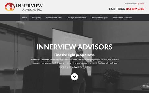 Screenshot of Home Page innerviewadvisors.com - Hiring the Right People for the Right Job: InnerView Advisors - captured Sept. 7, 2015