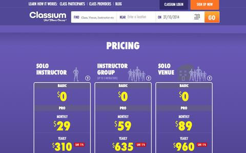 Screenshot of Pricing Page classium.com.au - Pricing - Classium | Find Fitness Classes - captured Oct. 27, 2014